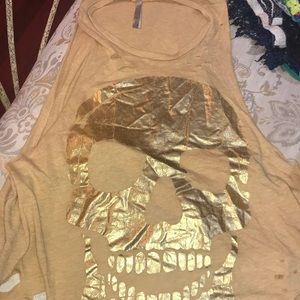 Tops - Distressed gold skull muscle tank